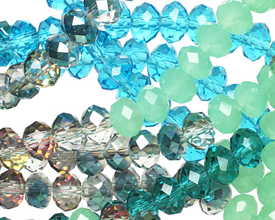 Sea Breeze Crystal Mix Faceted Rondelle 6mm