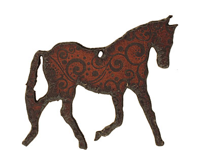 The Lipstick Ranch Etched Rusted Iron Horse Pendant 58x51mm