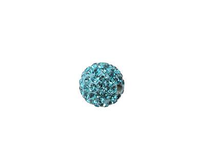 Aquamarine Pave Round 10mm (1.5mm hole)