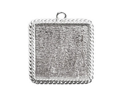 Nunn Design Sterling Silver (plated) Large Ornate Square Bezel Pendant 30x34mm