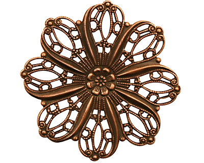Stampt Antique Copper (plated) Crocus Filigree 36mm