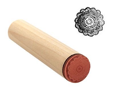 Crocheted Doily Mini Rubber Stamp 14mm