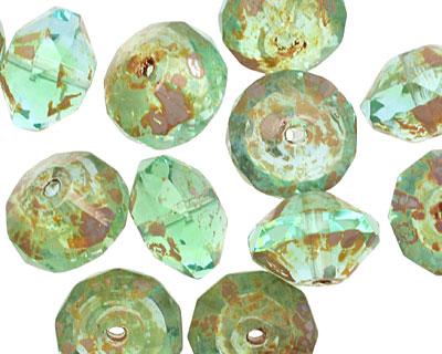 Czech Glass Seafoam Picasso Saucer 9x13mm