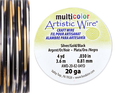 Artistic Wire MultiColor Silver/Gold/Black 20 Gauge, 4 Yards