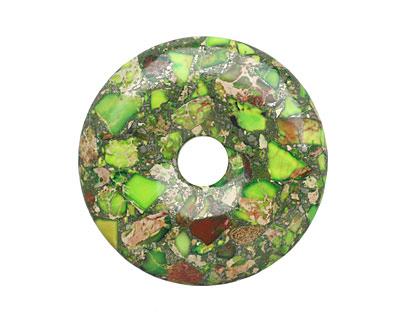 Apple Green Impression Jasper & Pyrite Mosaic Donut 50mm