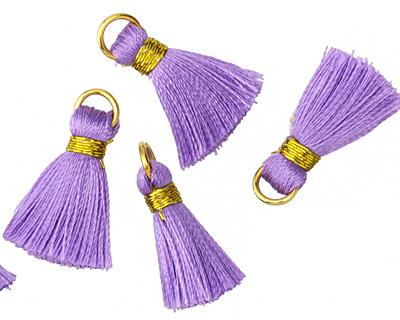 Lavender w/ Gold Binding & Jump Ring Thread Tassel 17mm