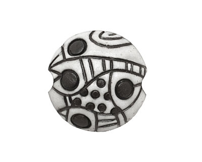 Golem Studio Dark Abstract Carved Ceramic Lentil 23mm