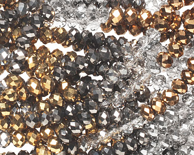 Metallics Crystal Mix Faceted Rondelle 4mm