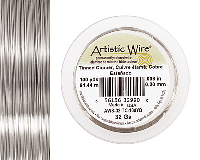 Artistic Wire Tinned Copper 32 gauge, 100 yards