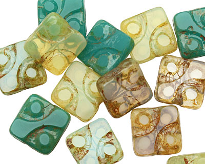 Czech Glass Aloe Dotted Square 10mm