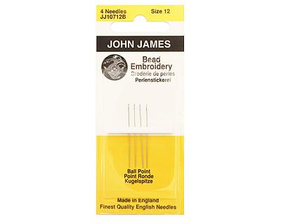John James Size 12 English Ball Point Bead Embroidery Needles