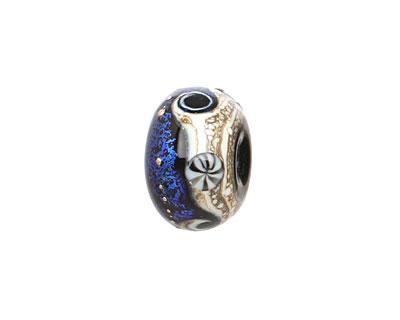 Grace Lampwork Cobalt Celestial Rondelle 10x16mm