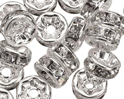 Silver (plated) Crystal Rhinestone Rondelle 6mm