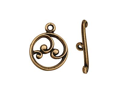 Antique Brass (plated) Circle w/ Swirls Toggle Clasp 18x15mm, 21mm bar