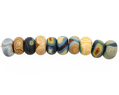 Humble Beads Polymer Clay Van Gogh's Starry Night Disk 8-9x12-13mm