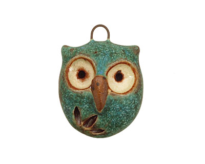 Kylie Parry Ceramic Copper Patina Hoot Owl Charm 19x26mm