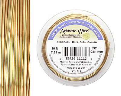 Artistic Wire Silver Plated Gold 20 gauge, 25 feet