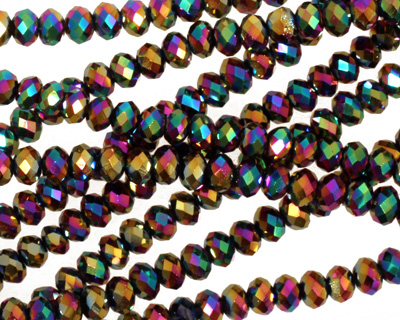 Metallic Peacock Crystal Faceted Rondelle 4mm