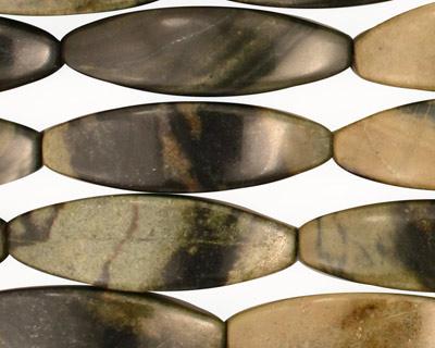 Green Water Jasper 4-Sided Rice 30x10mm