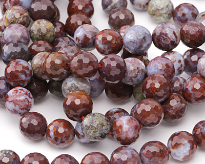 Red Lightning Agate Faceted Round 10mm