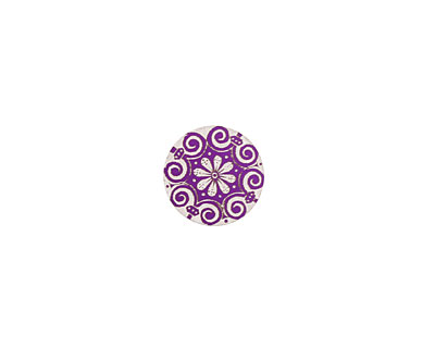 Lillypilly Purple Scrolling Daisy Anodized Aluminum Disc 11mm, 24 gauge