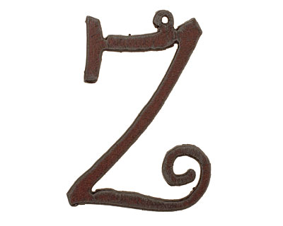 The Lipstick Ranch Rusted Iron Letter Z Pendant 35x49mm
