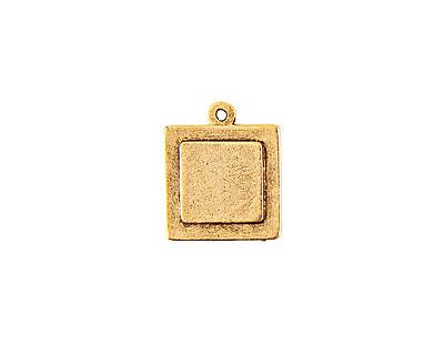 Nunn Design Antique Gold (plated) Raised Tag Mini Square Pendant 18x22mm