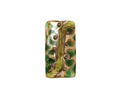 Grace Lampwork Green w/ Silver Foil Kalera 26-27x38-29mm