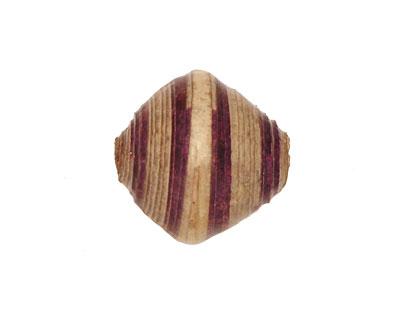 African Paper (beige, eggplant, beige) Bicone 20x21-22mm