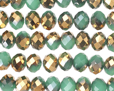Green Opal & Metallic Antique Gold Crystal Faceted Rondelle 8mm