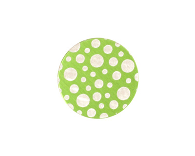 Lillypilly Lime Green Scattered Dots Anodized Aluminum Disc 19mm, 24 gauge