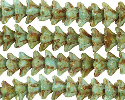 Czech Glass Picasso Blue Green 5 Point Bellflower 6x9mm
