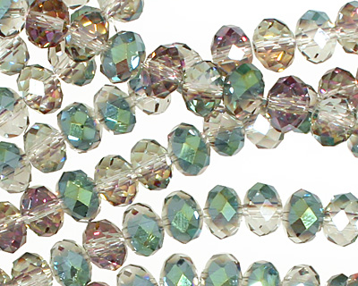 Green & Pink AB Crystal Faceted Rondelle 8mm