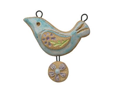 Gaea Ceramic Atlantis Peace Bird Daisy Egg Pendant