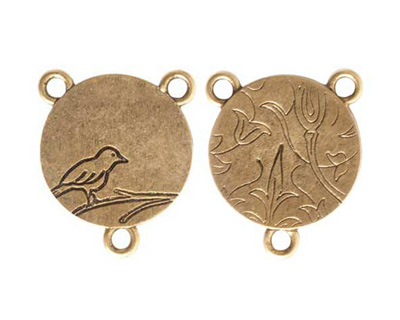 Nunn Design Antique Gold (plated) Small Circle Bird 2-1 Connector 24x20mm