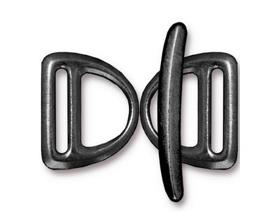 TierraCast Gunmetal Slotted D Ring Clasp Set 17x20mm, 30mm bar