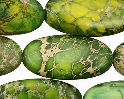 Green Impression Jasper Flat Oval 30x15mm