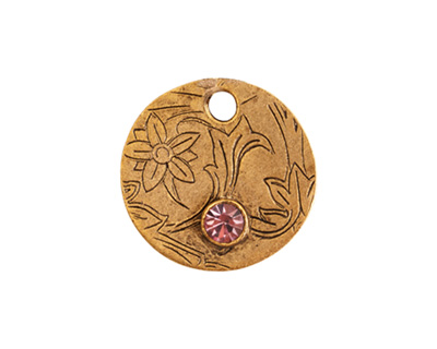 Nunn Design Antique Gold (plated) Decorative Small Circle Tag w/ Light Amethyst Crystal 20mm