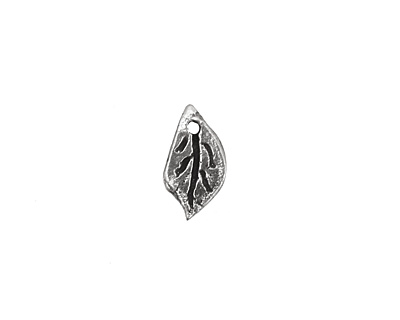 Rustic Charms Sterling Silver Tiny Leaf Charm 7x13mm