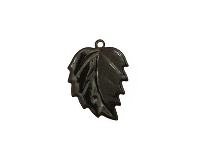 C-Koop Enameled Metal Black Leaf 15x20mm