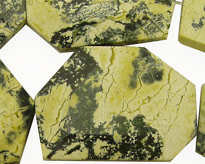 Yellow Turquoise Faceted Flat Slab 35-40x25-30mm