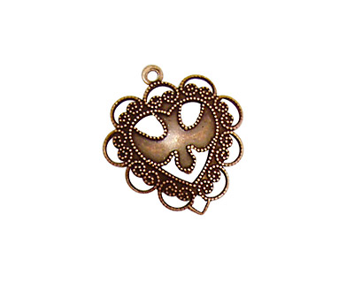 Stampt Antique Copper (plated) Dove Heart Charm 20x22mm