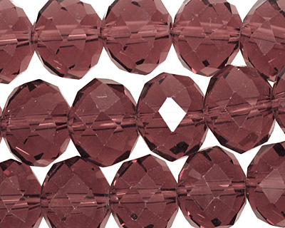 Raspberry Mocha Crystal Faceted Rondelle 14mm