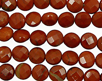 Red Jasper Faceted Coin 8mm