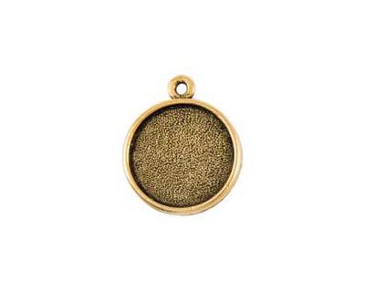 Nunn Design Antique Gold (plated) Double Sided Bezel Pendant 23x27mm