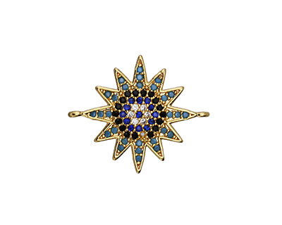 Storm Mix Pave CZ Gold (plated) Starburst Focal Link 23x19mm