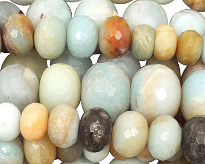 Black Gold Amazonite Faceted Rondelle Graduated 6-16x10-20mm