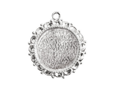 Nunn Design Sterling Silver (plated) Large Ornate Circle Bezel Pendant 30x32mm
