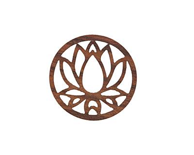 Walnut Wood Openwork Lotus Coin Focal 25mm