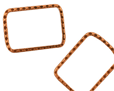 Stampt Antique Copper (plated) Rectangular Textured Ring 18x24mm